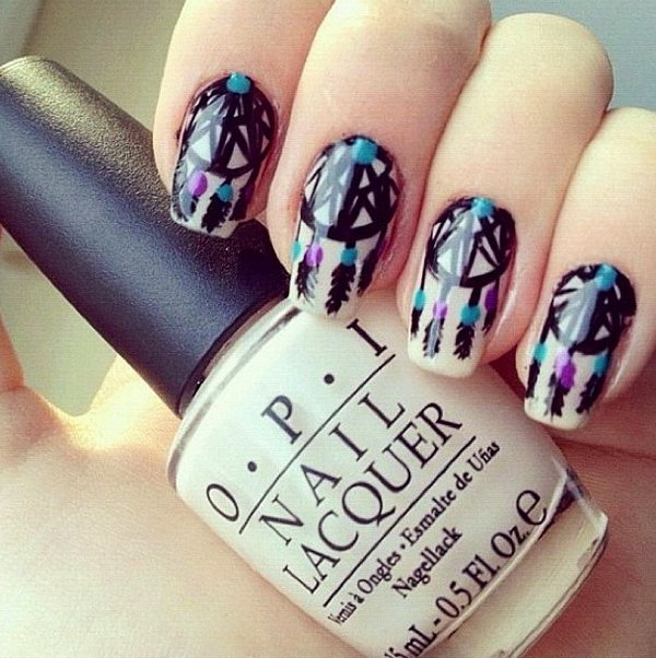 Cool Dream Catcher Nail Designs For Native American Fashion Styles Art