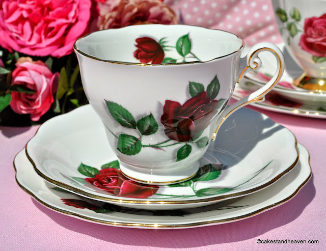 Royal Standard Red Velvet Fine China Teacup Trio