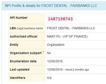 161206 frost dental npi