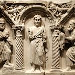 Art romain - Devant de sarcophage paléochrétien - Le Christ et les Apôtres (marbre, Genzano - Italie, 5e siècle)