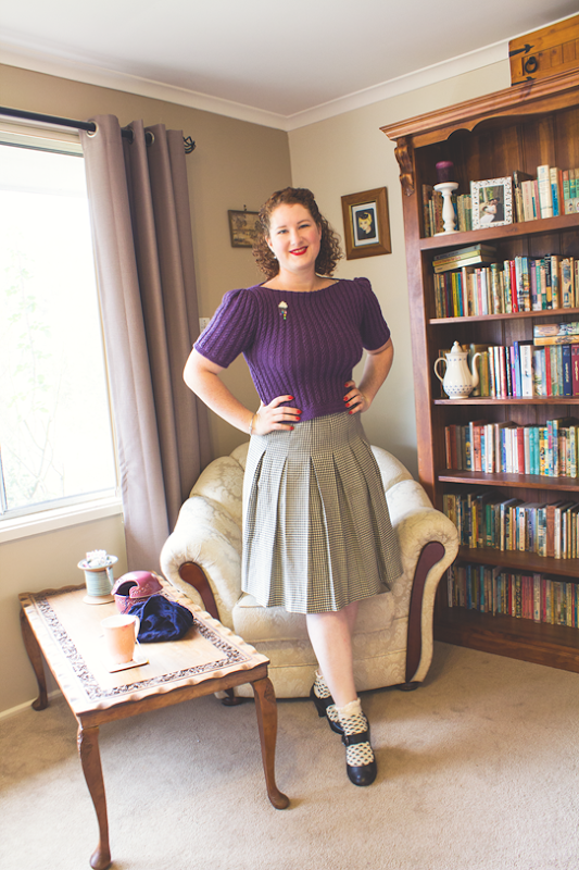 Flossy & Dossy's 40s Quick Knit styled in a 1940s influenced ensemble | Lavender & Twill