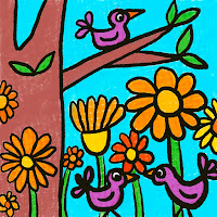 child's drawing of birds, tree and flowers