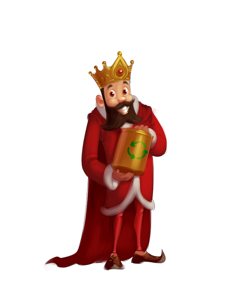 Recycle king mascot concept