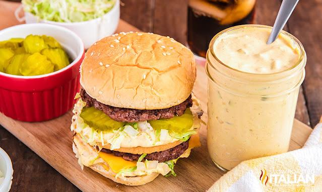 Big Mac Sauce Recipe next to a big mac