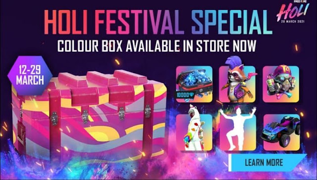 New Colour Box Crate in Free Fire: Emotes, skins, Free Diamond andother rewards revealed Holi Festival Update 2021