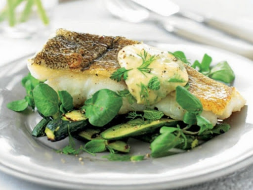 Courgette and watercress salad with grilled fish and herbed aioli