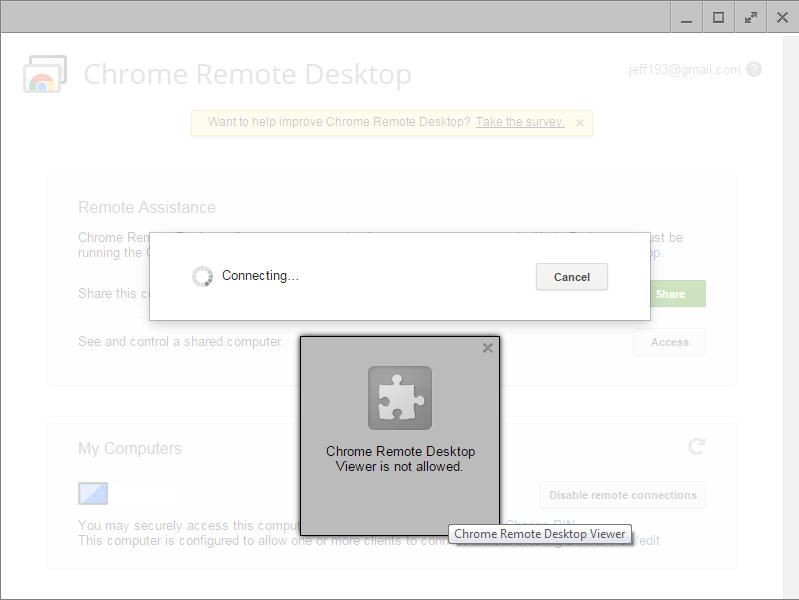 Chrome Remote Desktop Viewer is not allowed