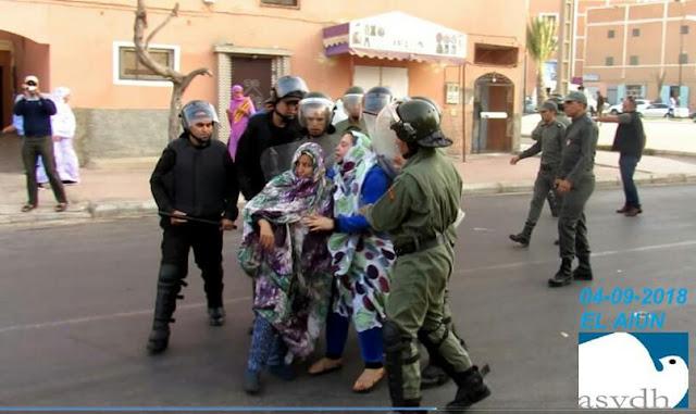 قوات الاحتلال المغربي تعنف متظاهرين صحراويين عشية زيارة لجنة التجارة الخارجية التابعة للبرلمان الاوروبي