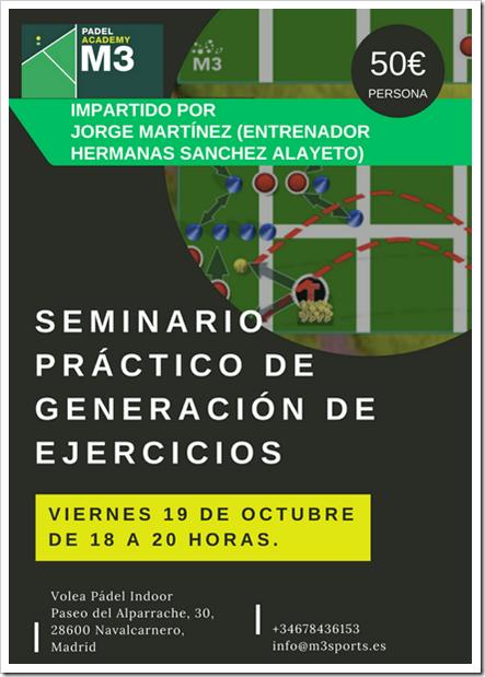 V19 Octubre: I Seminario práctico sobre generación de ejercicios de pádel M3 Padel Academy.