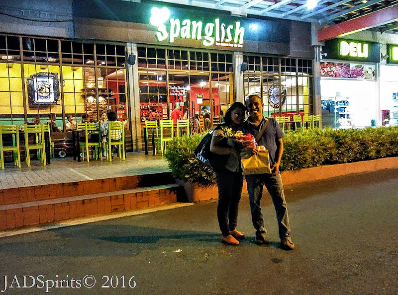 The Two of Us in Front of the Spanglish after our 17th Wedding Anniv Dinner