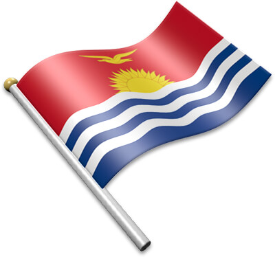 The I-Kiribati flag on a flagpole clipart image
