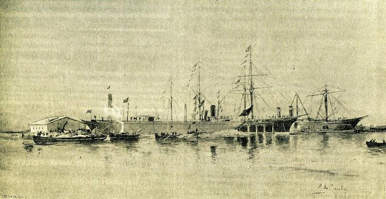 Botadura del buque. De la Revista de Navegación y Comercio. Año 1892.jpg