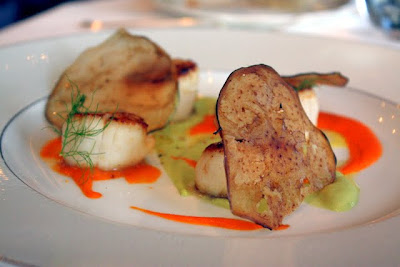 Scallops with truffles at the Langham Hotel restaurant in London
