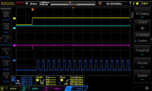 "Oscilloscope of the bad ""CHWW"" NAND gate card: pink (3) and blue (4) are inputs, cyan (2) is the output, stuck high."