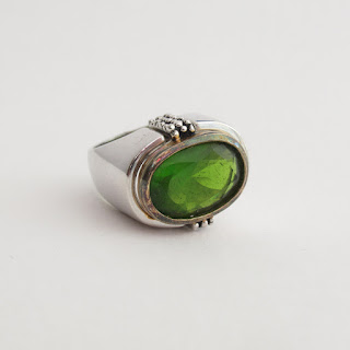 Sterling Silver & Green Stone Ring
