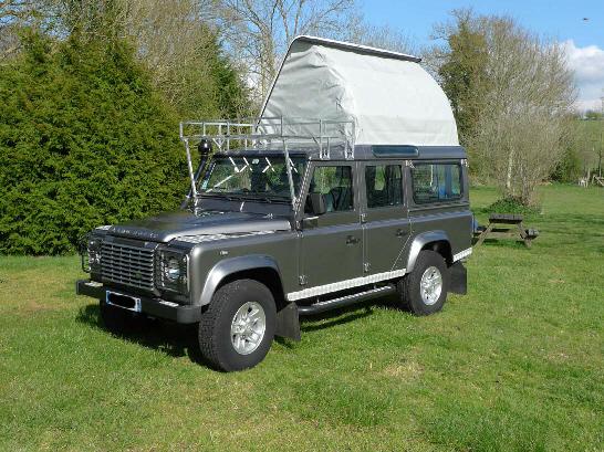 land defender : dormobile, toit relevable et amenagement 4x4 - casa