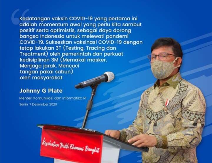 Menkominfo RI : Pemerintah Terus Mendorong Percepatan Penanggulangan Pandemi Covid-19