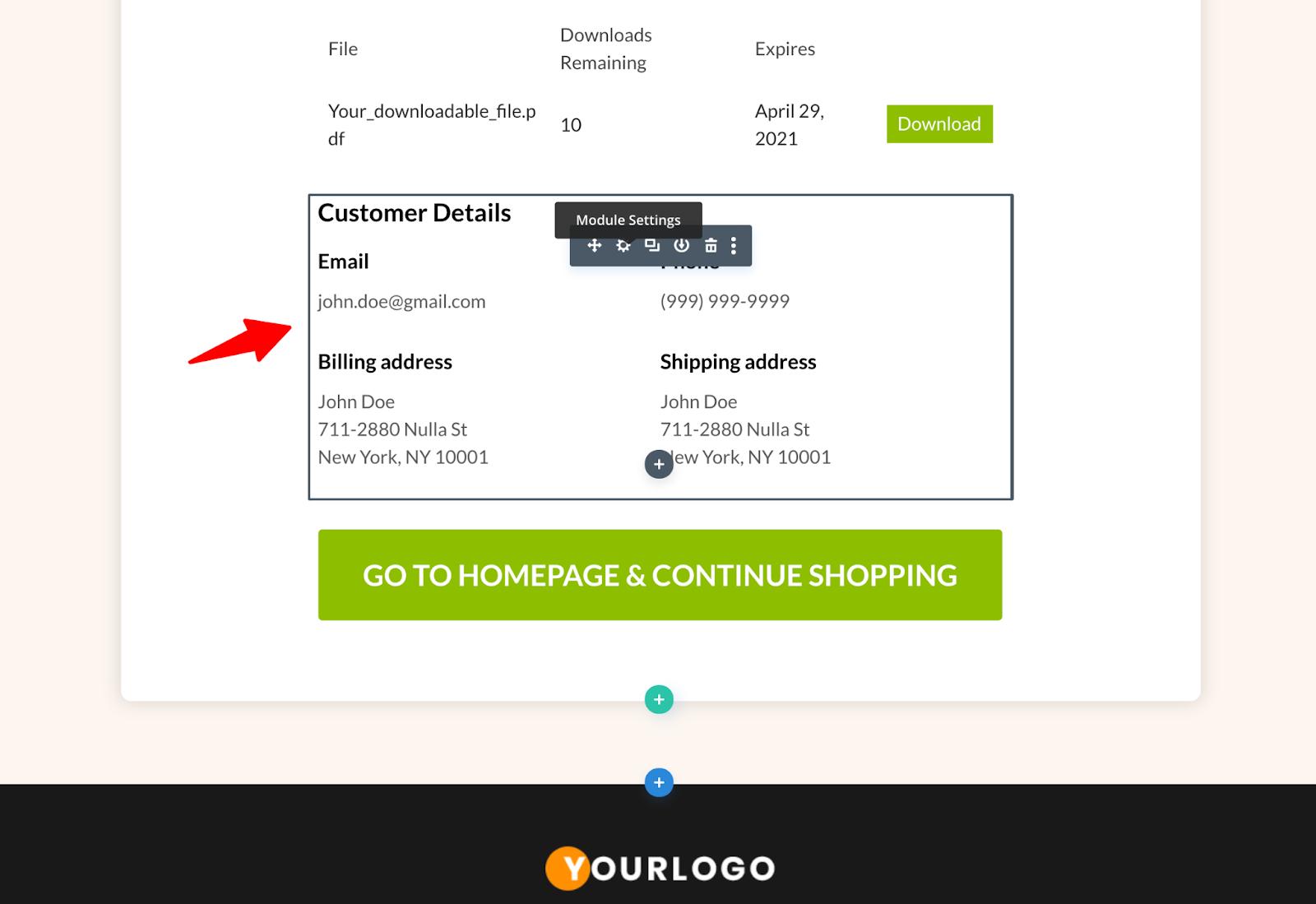 "Go to module settings for Divi ""WF Customer Details"" module"