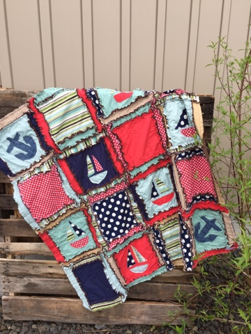 Nautical Themed Rag Quilt for Baby Boy for a Crib