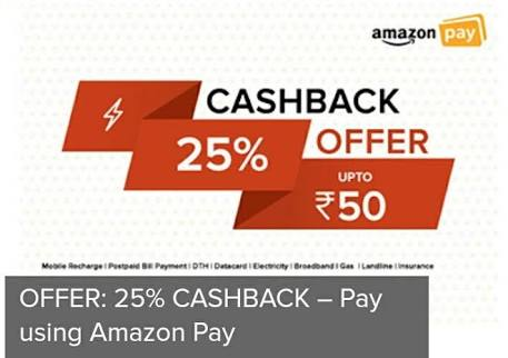(Last Day) Amazon - Flat 25% Cashback Upto Rs.100 On DTH Recharge
