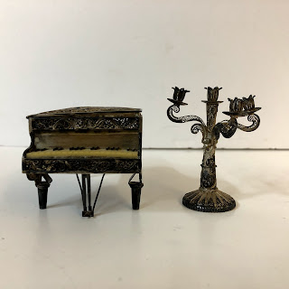 Sterling Silver Mini Piano and Candelabra