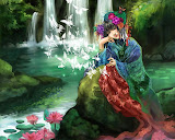 Girl On The Shore Of Waterfalls