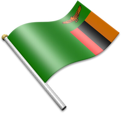 The Zambian flag on a flagpole clipart image