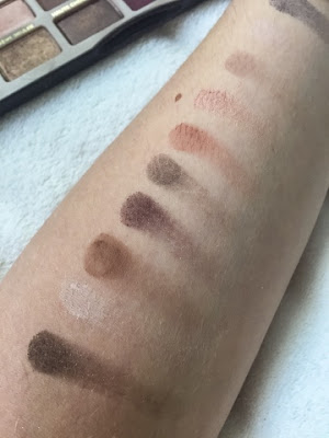 Too Faced chocolate bar palette swatches close up