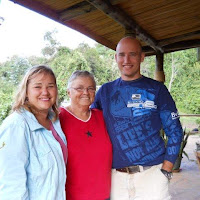 Melissa with her mom and brother Glenn in Kenya