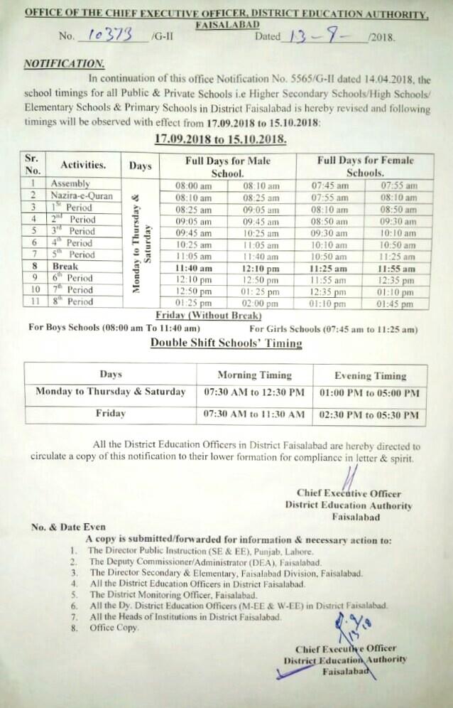 NOTIFICATION REGARDING SCHOOL TIMINGS BY CEO (DEA) FAISALABAD