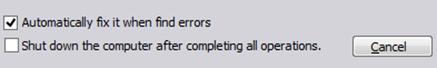 Tandai pilihan ini agar partisi diperbaiki secara otomatis jika terjadi error