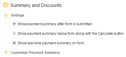 real-time payment summary forms