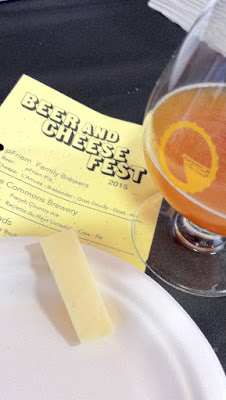 Portland Beer and Cheese Fest 2015, pairing of The Commons Brewery French Country Ale with Raclette du Haut Livadors cow cheese from France