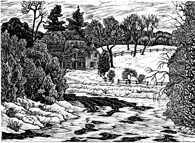 End of Winter on the Upper Grand River. Wood Engraver Gerard Brender à Brandis