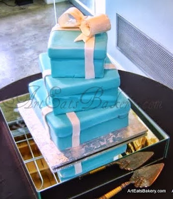 Tiffany blue fondant three tier custom square present wedding cake design with edible bow