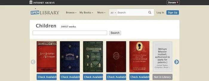 أفضل المواقع المجانية للأطفال كتب Openlibrary
