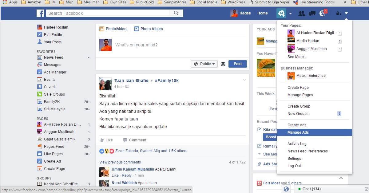 Facebook Manage Ads Menu
