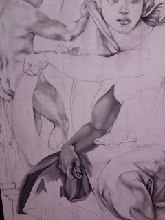 Work in progress at Grisaille underpainting stage, also known as monochrome. Showing close up of top section of painting with arm completed.