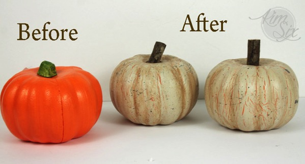 Painted chippy dollar store styrofoam pumpkins
