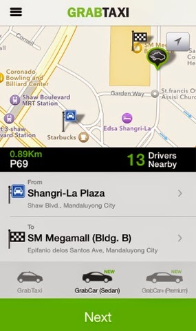 GrabTaxi App for iPhone