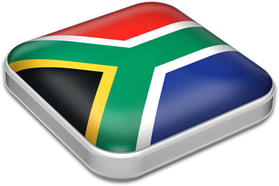Flag of South Africa with metallic square frame