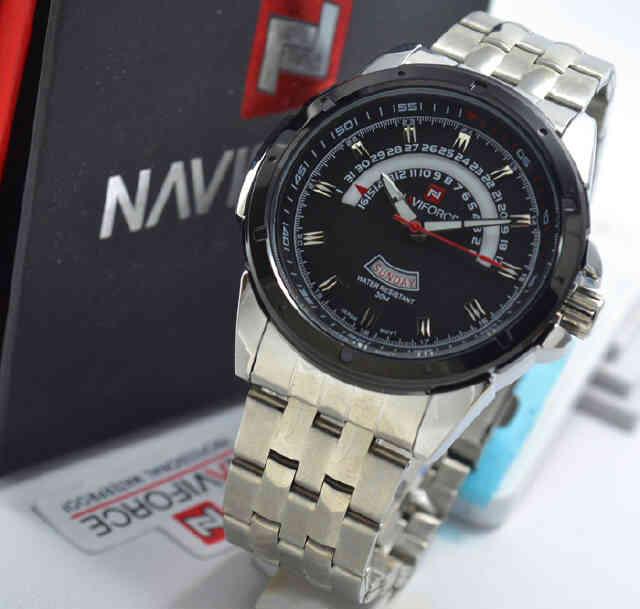Jual jam Naviforce NF9058 silver black