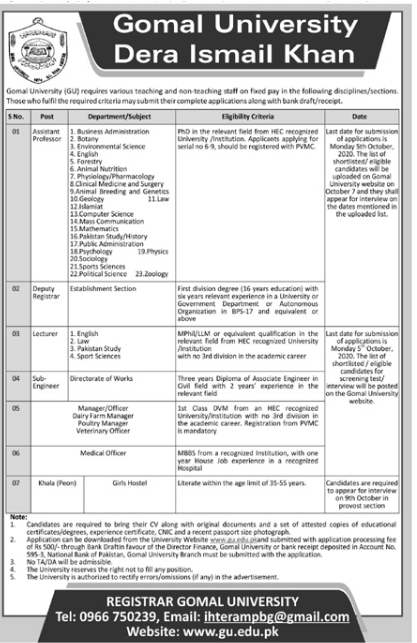 Gomal University Dera Ismail Khan Jobs September 2020