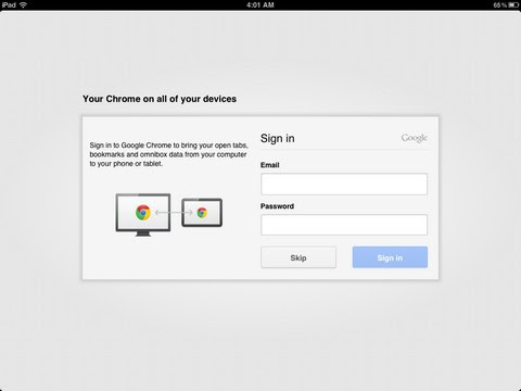 Login Chrome for iOS