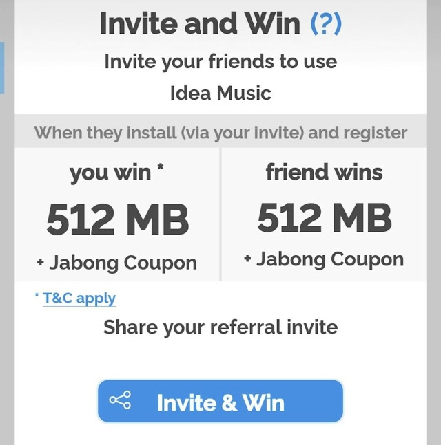 (New users Only) idea Music App - Get Rs. 500 Jabong Shopping Voucher + 512MB 4G Data for 5 days