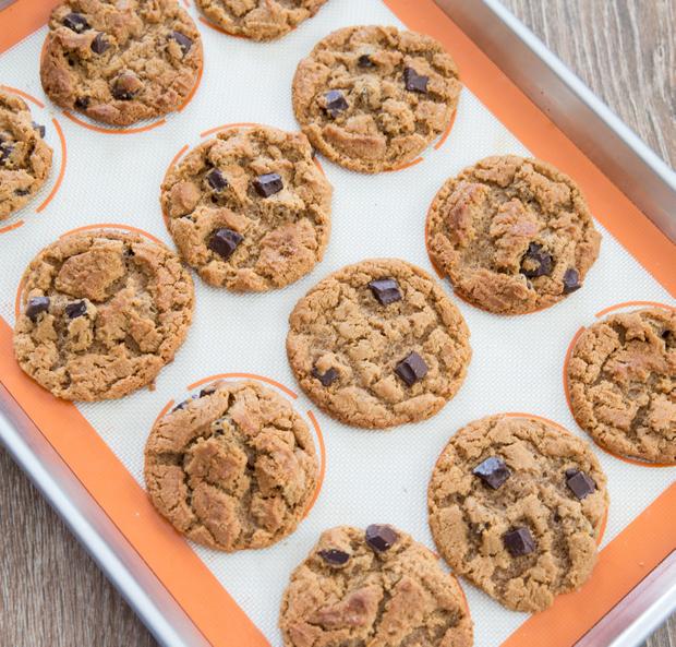 baked flourless almond butter cookies on a cookie sheet