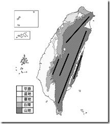 臺灣地形分布圖_黑白_無字_山線