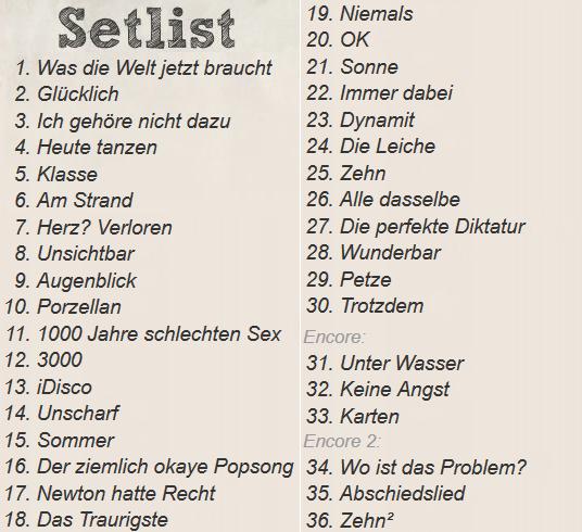 Setlist Farin Urlaub RAcin Team, Berlin Wuhlheide, 20.08.2015