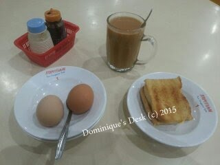 Kaya Toast, half boiled eggs and hot milo