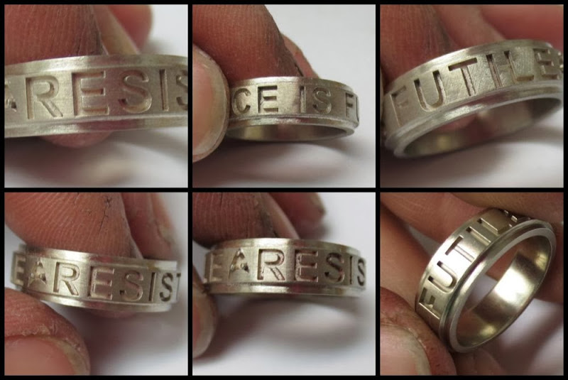 Star Trek Insignia Ring, Borg Quote RESISTANCE IS FUTILE: Making them shiny